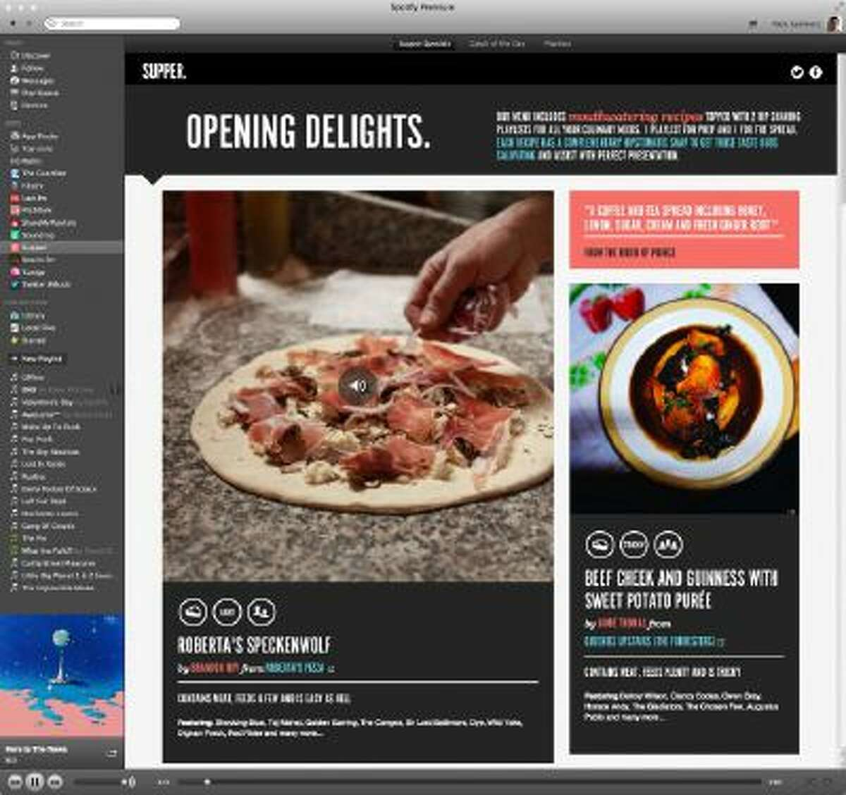 Screenshot of Supper, a new app from Spotify that combines music and food.