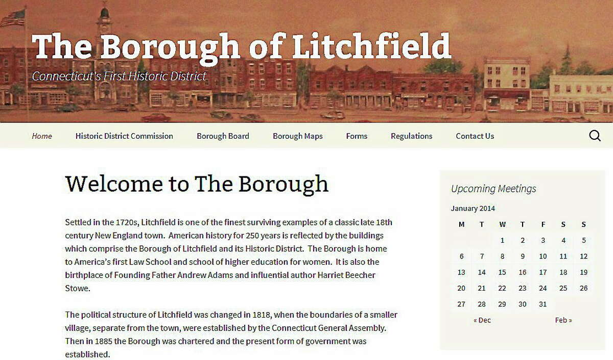 A screenshot of the new website for the Borough of Litchfield.