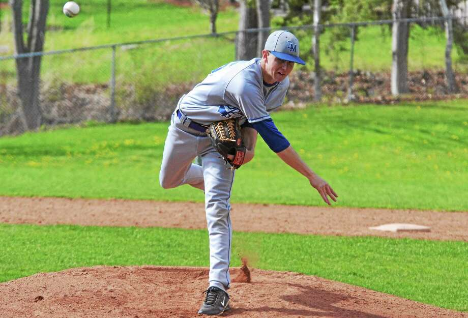 Pete Paguaga Register Citizen Lewis Mills' Justin Gallicchio threw a complete game shutout, allowing only three hits in the Spartans 6-0 win over Northwestern. Photo: Journal Register Co.