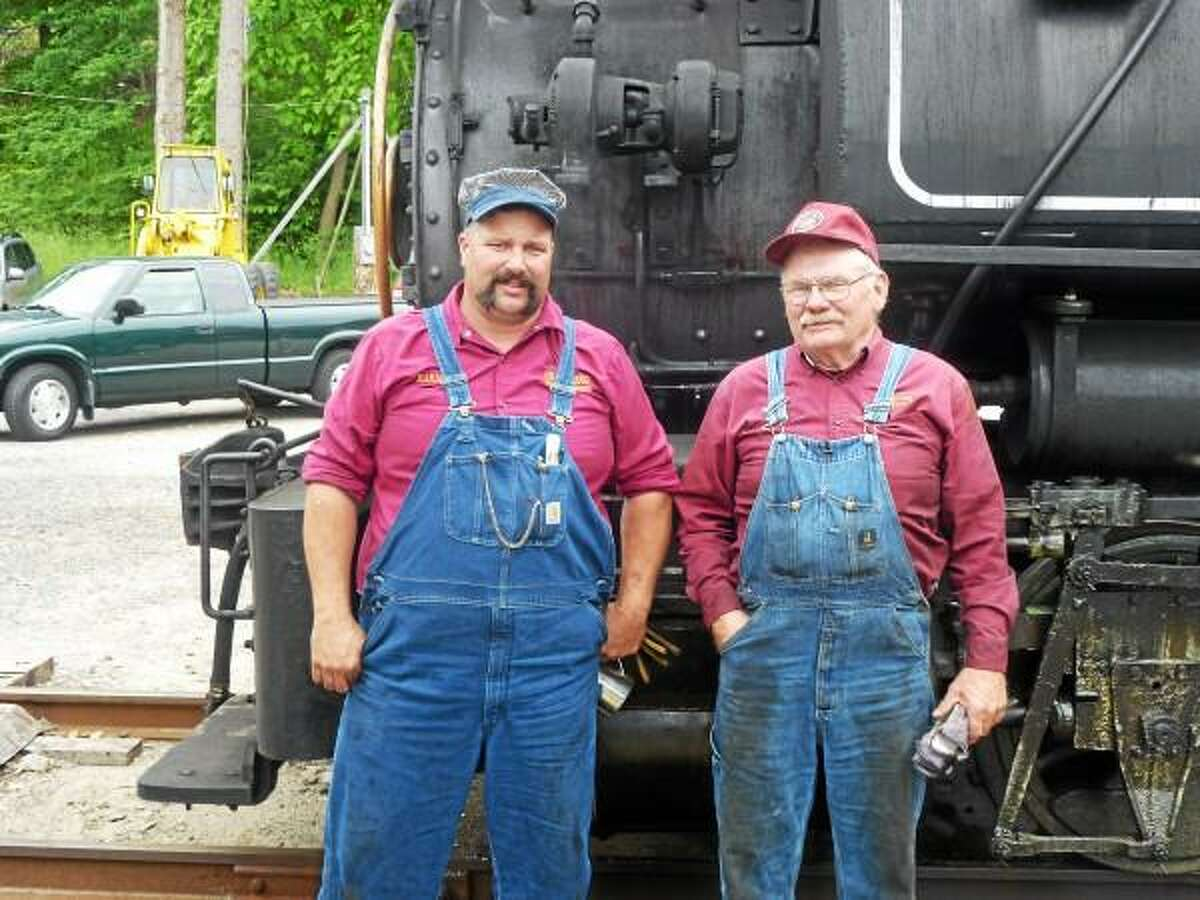 Barney Gramling (left) and father John Gramling have restored two steam locomotives as a hobby and are working on two more. (Ryan Flynn - Register Citizen)