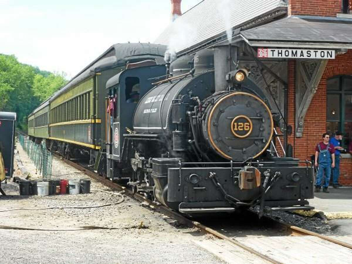 82-year old Sadie, restored by John and Barney Gramling, is visiting the Thomaston station on the weekends of June 8, 15 and 22. (Ryan Flynn - Register Citizen)