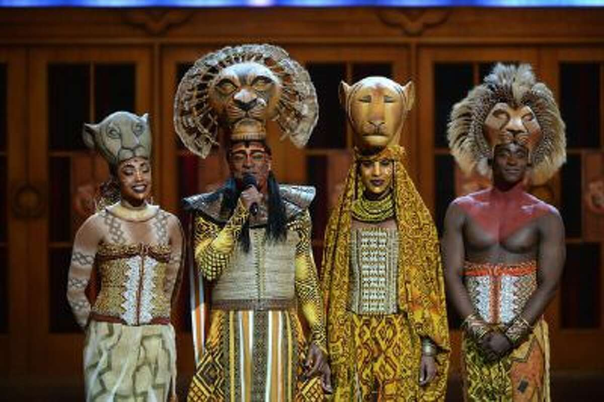 The cast of 'The Lion King' speaks onstage at The 67th Annual Tony Awards at Radio City Music Hall on June 9, 2013 in New York City.