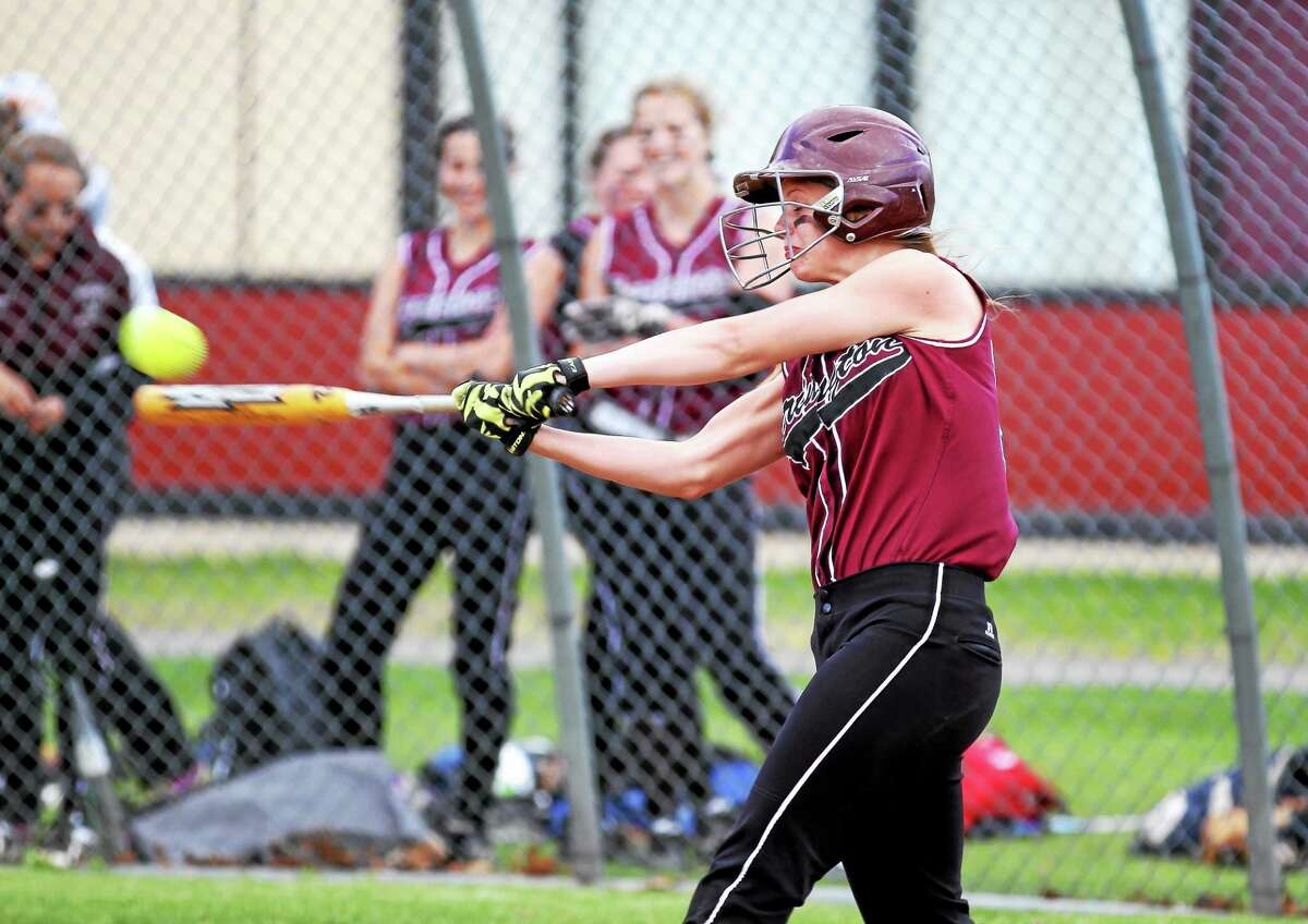 Torrington's Brittany Anderson lines a single in the Red Raiders' 3-0 win over Naugatuck.