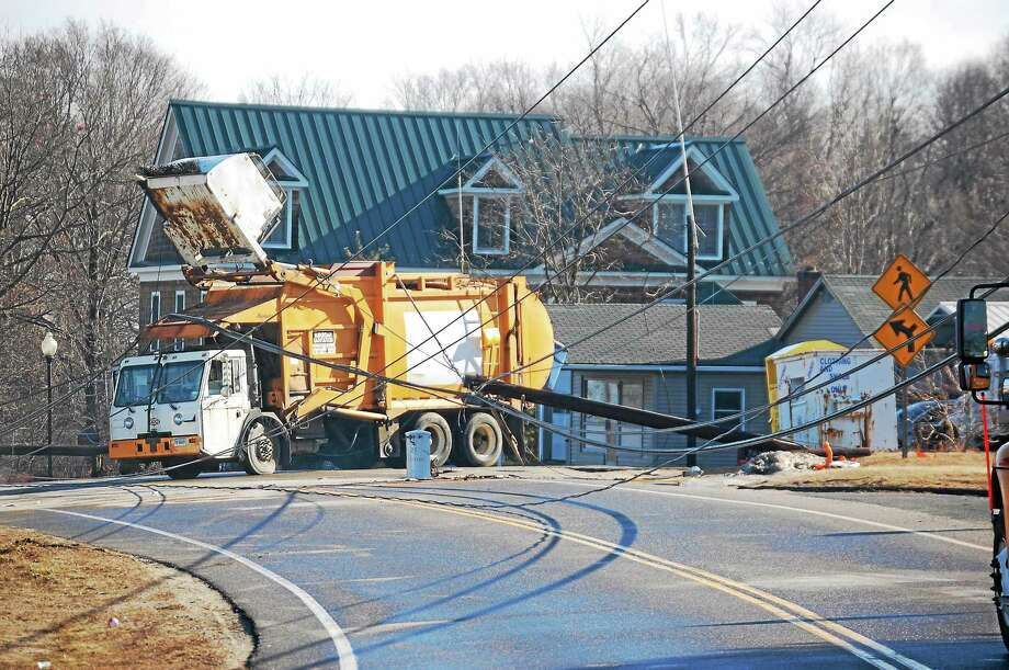A garbage truck accident closed part of Route 4 in Burlington for several hours Wednesday morning, Jan. 15, 2014. Photo: Tom Cleary — Register Citizen