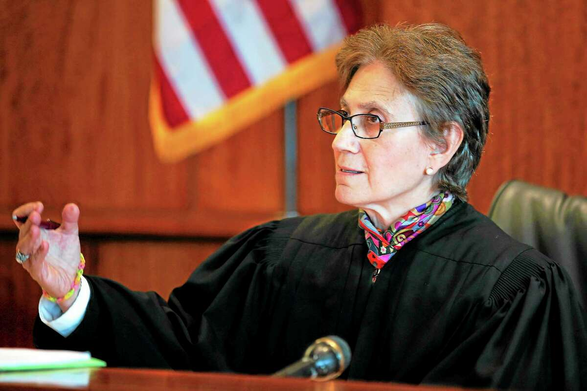 Judge Susan Garsh speaks during a pretrial court hearing for former New England Patriots player Aaron Hernandez in Fall River, Mass., on Oct. 9.