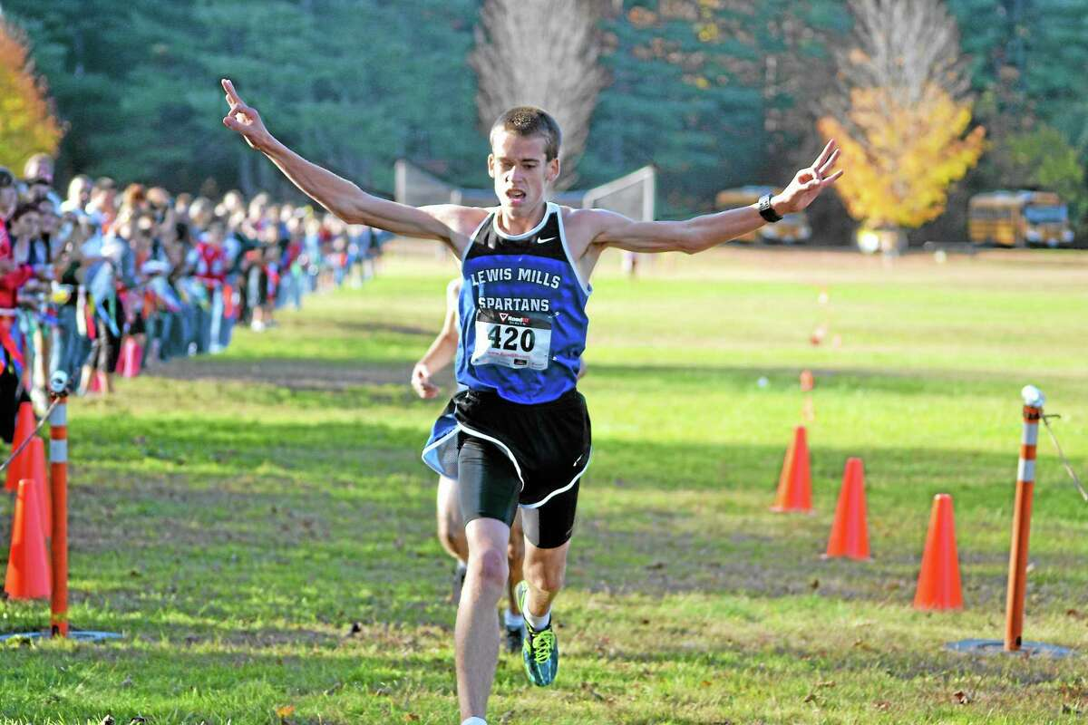 Lewis Mills' Jackson Morrow crosses the finish line just ahead of Nonnewaug's Vincent Pistritto to win the boys Berkshire League title.