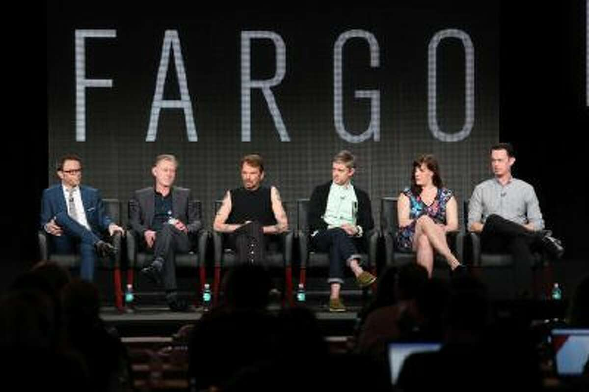 Noah Hawley, Executive Producer/Writer, Warren Littlefield, Executive Producer, actors Billy Bob Thornton, Martin Freeman, Allison Tolman and Colin Hanks of the television show 'Fargo' onstage during the FX portion of the 2014 Television Critics Association Press Tour on January 14, 2014 in Pasadena, California.