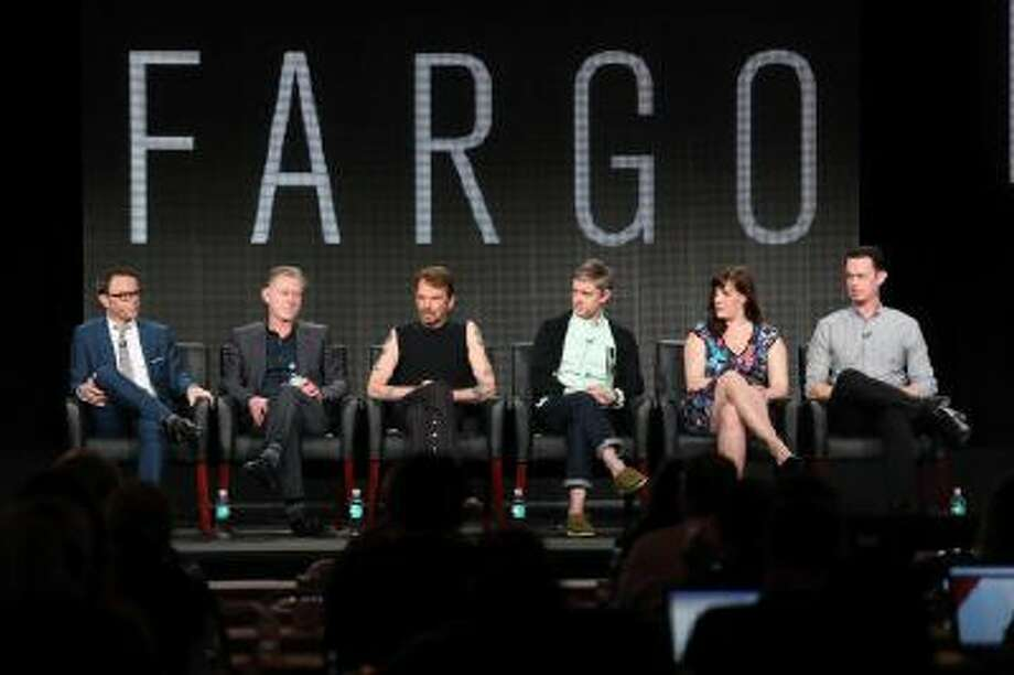 Noah Hawley, Executive Producer/Writer, Warren Littlefield, Executive Producer, actors Billy Bob Thornton, Martin Freeman, Allison Tolman and Colin Hanks of the television show 'Fargo' onstage during the FX portion of the 2014 Television Critics Association Press Tour on January 14, 2014 in Pasadena, California. Photo: Getty Images / 2014 Getty Images