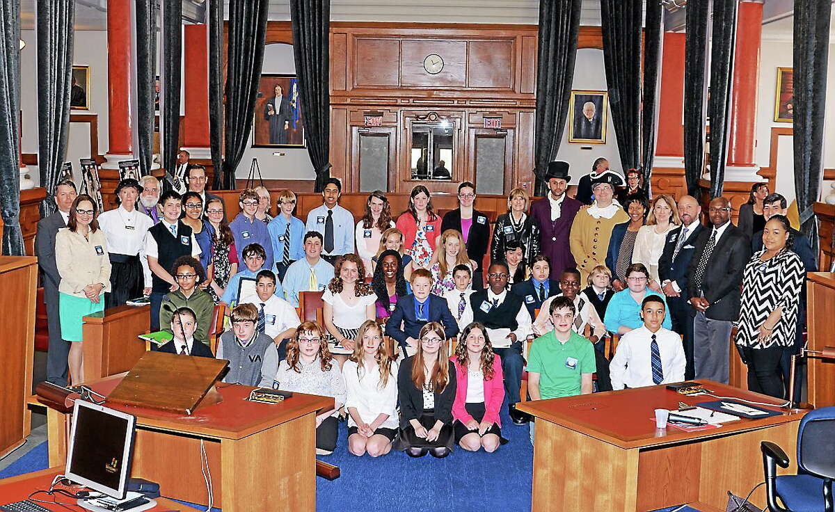 Students and lawyers celebrate Law Day Monday at the Connecticut Appellate Court in Hartford.