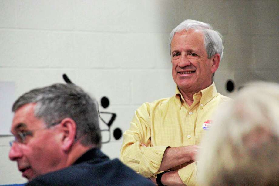 Barkhamsted First Selectman Don Stein seen during the town budget meeting Tuesday. Photo: Shako Liu — Register Citizen