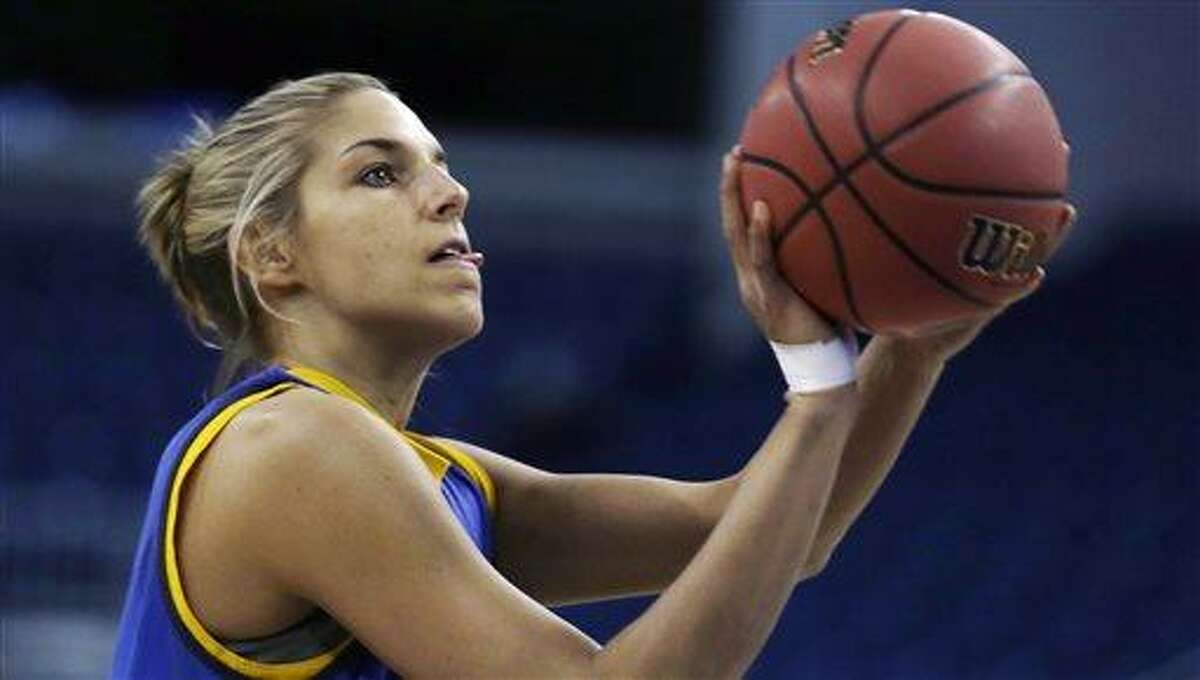 Delaware forward Elena Delle Donne shoots during practice for a women's regional semifinal game in the NCAA college basketball tournament in Bridgeport, Conn., Friday, March 29, 2013. Delaware plays Kentucky Saturday. (AP Photo/Charles Krupa)
