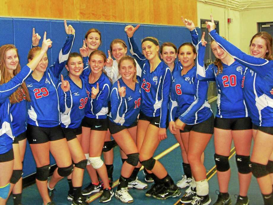 Nonnewaug won its first Berkshire League girls volleyball title in a 2-1 win over Terryville Thursday night at Lewis Mills. Photo: Peter Wallace — Register Citizen