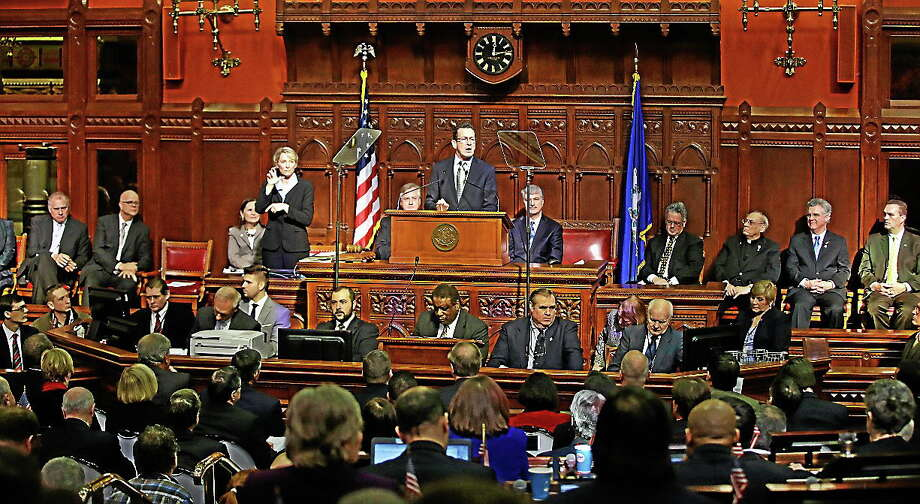 Connecticut Gov. Dannel P. Malloy delivers his 2014 State of the State address in front of a joint session of the legislature in the House Chambers at the Capitol in Hartford, Conn. on Feb. 6, 2014. Photo: AP Photo/Stephan Savoia / AP