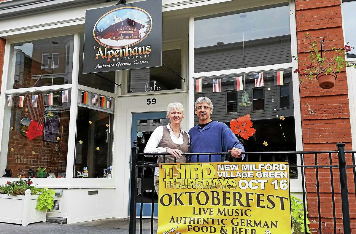 Manuela Young and Jeff Yenter are the co-owners of the Alpenhaus restaurant in New Milford. The German restaurant held a grand opening in September.