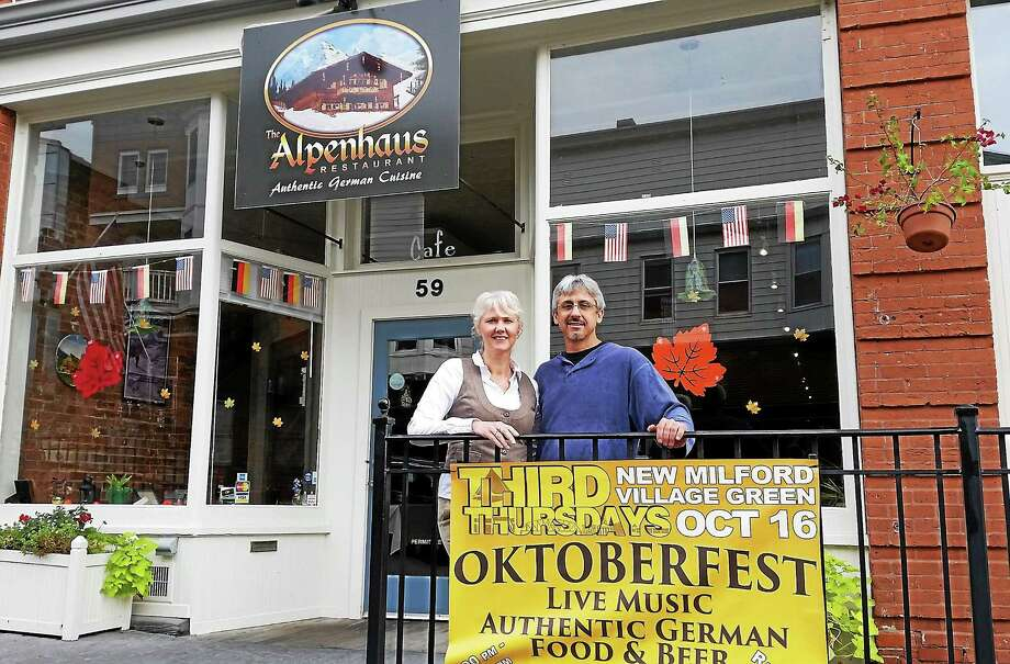 Manuela Young and Jeff Yenter are the co-owners of the Alpenhaus restaurant in New Milford. The German restaurant held a grand opening in September. Photo: Photo By N.F. Ambery