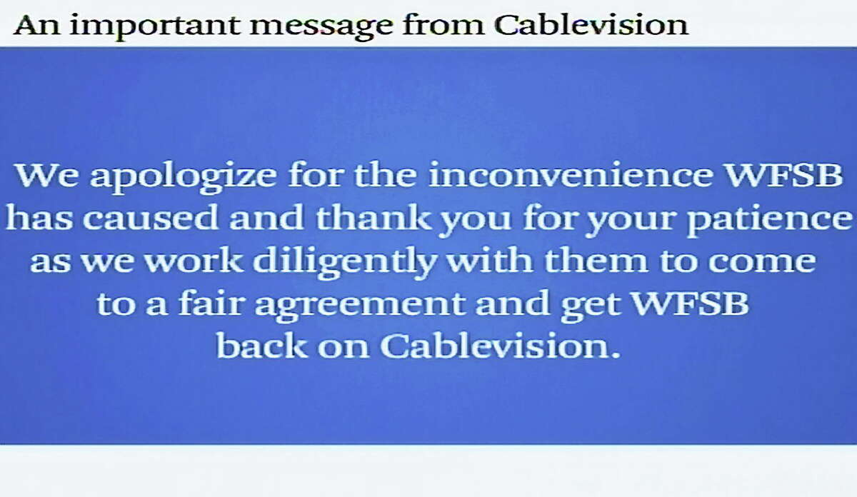 A screenshot of the looped message currently playing on WFSB to Cablevision/OptimumTV customers.