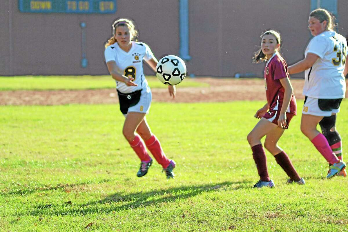 Wolcott Tech's Eva Verbickas clears the ball out of the defensive zone. Sacred Heart won 7-0.
