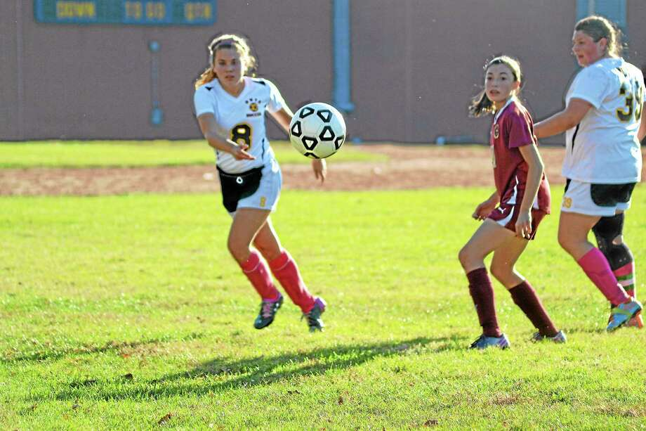 Wolcott Tech's Eva Verbickas clears the ball out of the defensive zone. Sacred Heart won 7-0. Photo: Pete Paguaga — Register Citizen
