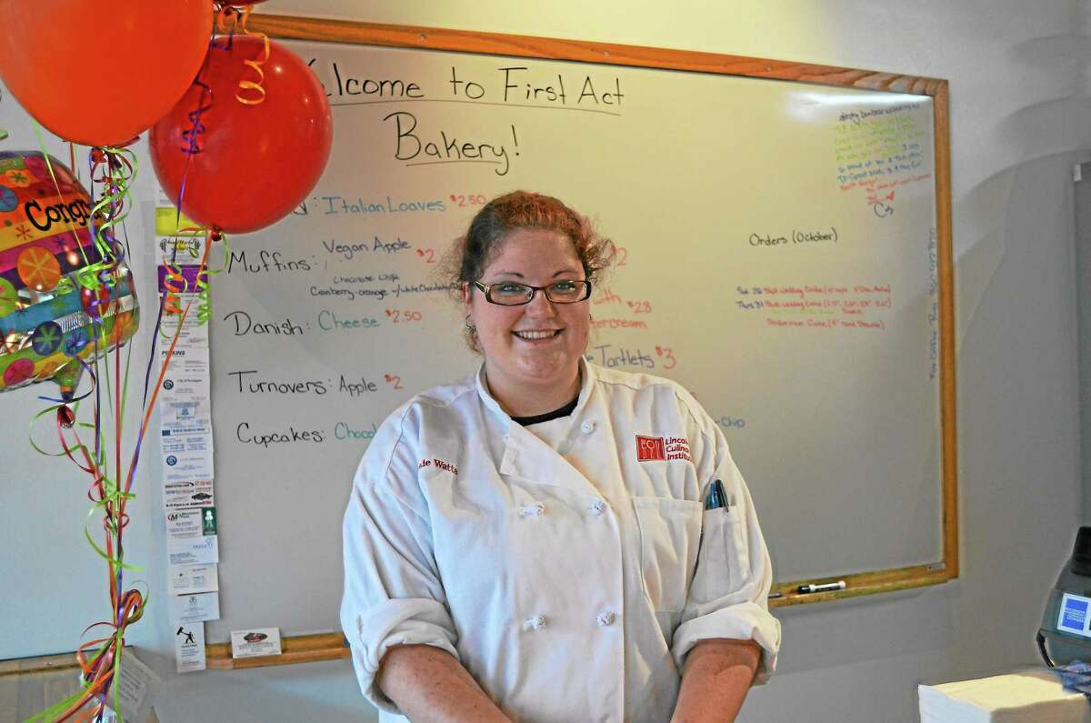 Stephanie Watts, owner of First Act Bakery on its opening day.