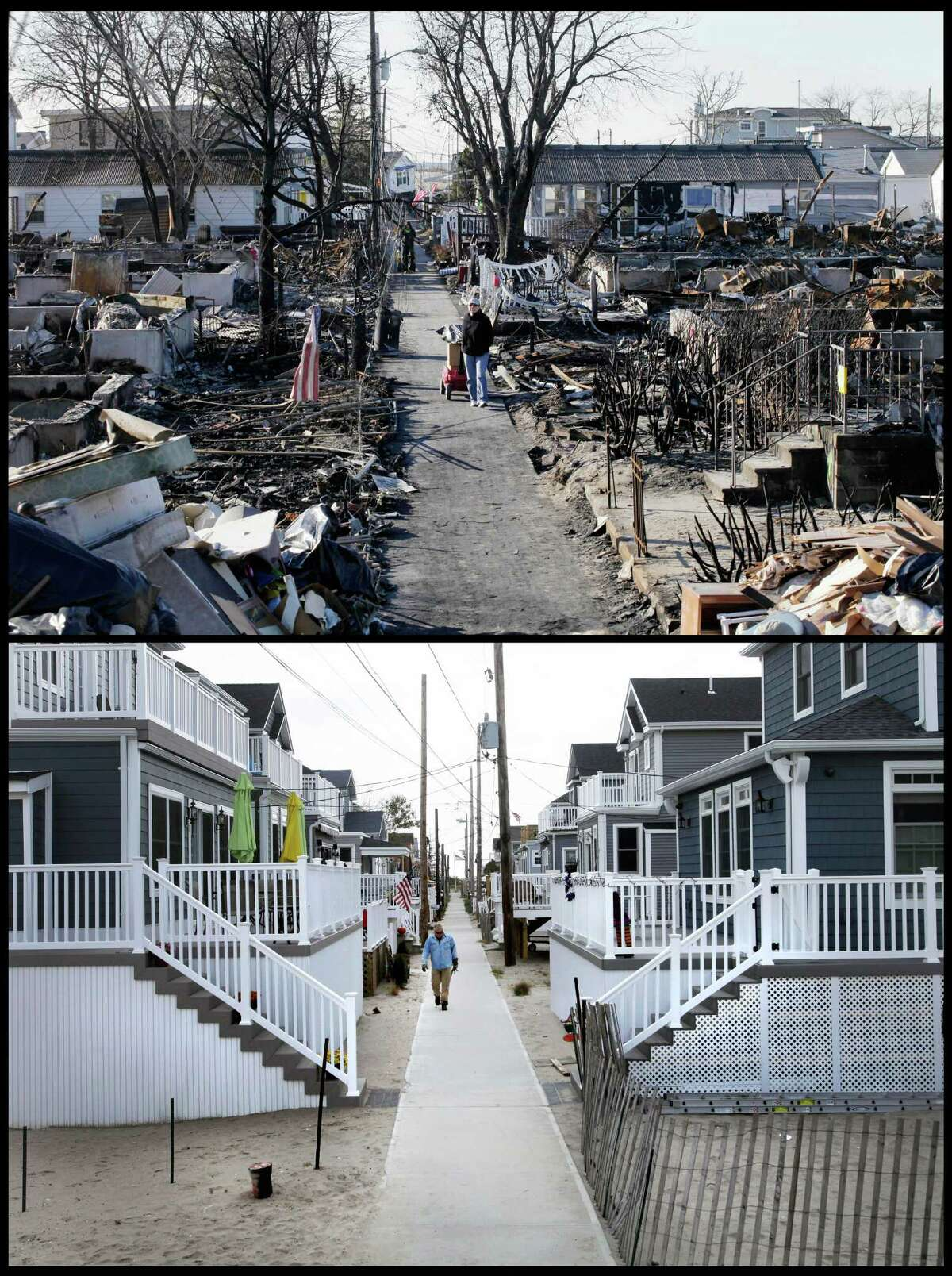 In this combination of photos from Nov. 14 2012, and Oct. 15, 2014, Louise McCarthy carts belongings from her flood-damaged home as she passes the charred ruins of other homes in the Breezy Point section of the Queens borough of New York following Superstorm Sandy, top, and the same site nearly two years later. (AP Photo/Mark Lennihan)