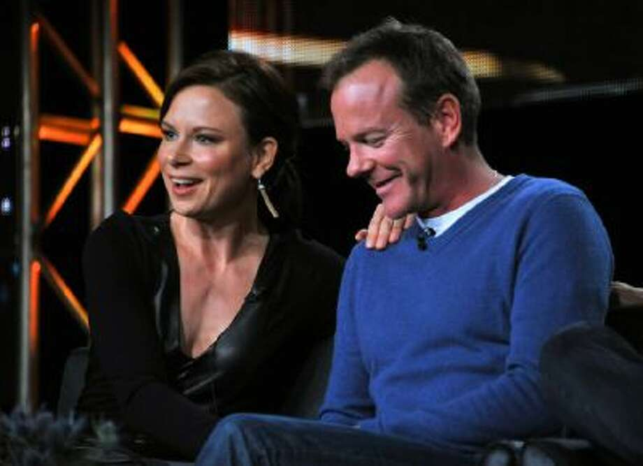 """Mary Lynn Rajskub, left, and Kiefer Sutherland take part on the panel for """"24: Live Another Day"""" at the FOX Winter 2014 TCA, on Monday, Jan. 13, 2014, at the Langham Hotel in Pasadena, Calif."""