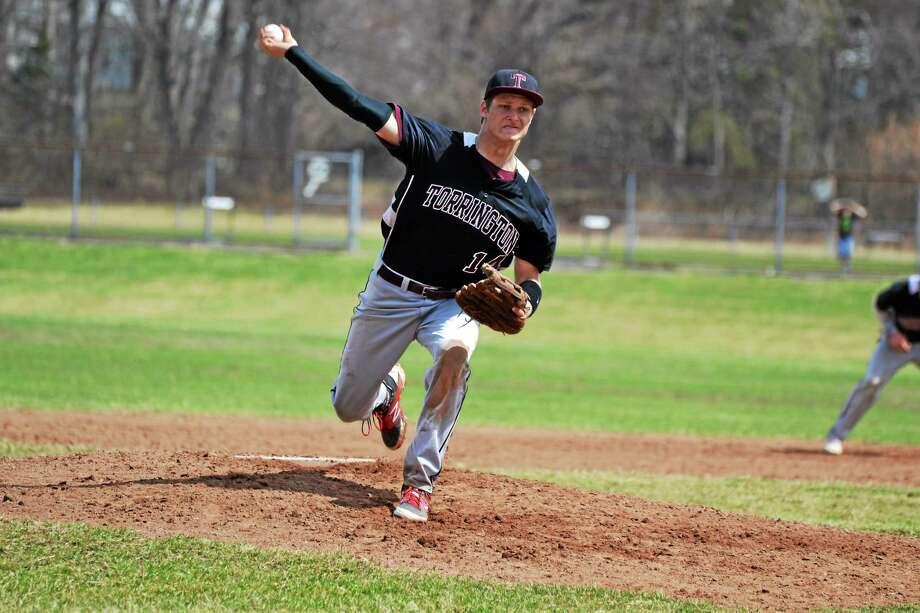 Torrington's Mitch Zagrodnik pitches, plays the outfield and first base for the Red Raiders this season. Photo: Pete Paguaga — Register Citizen