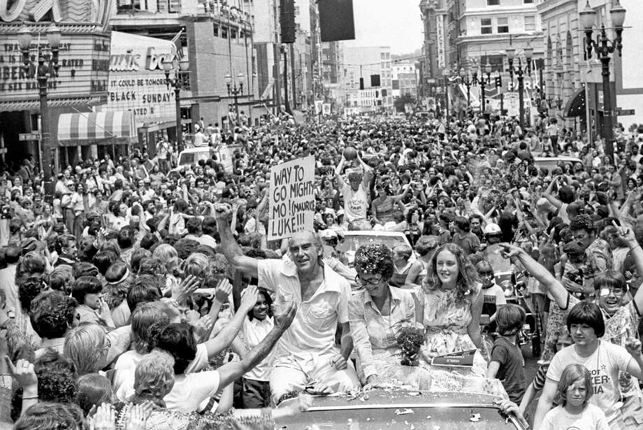 In this photo from June 6, 1977, Trail Blazers coach Jack Ramsay celebrates with fans during a parade in downtown Portland, Oregon, after they defeated the Philadelphia 76ers for the NBA title. Register sports columnist Chip Malafronte reminds us Ramsay's love of basketball began when his father hung a rim on a barn door at their home in Devon. Photo: Roger Jensen — The Oregon Journal File Photo  / The Oregonian