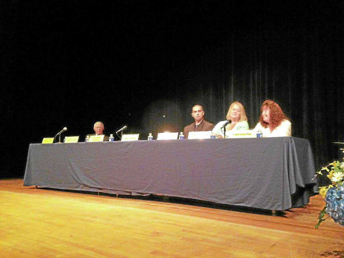 Candidates for the Winchester Board of Education debate at The Gilbert School Thursday night. Two Democratic candidates did not attend. Republicans and an unaffiliated candidate participated in the debate.