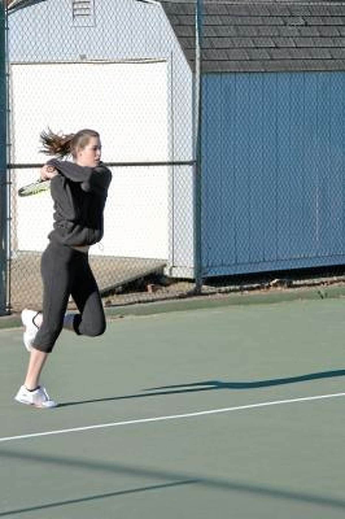 Pete Paguaga Thomaston's MacKenzie Blair returns a volley during practice. She is the Golden Bears number one singles player.