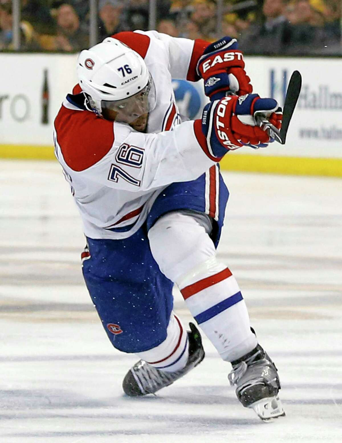The Montreal Canadiens' P.K. Subban follows through on his game-winning goal in the second overtime period against the Bruins in Boston on Thursday.