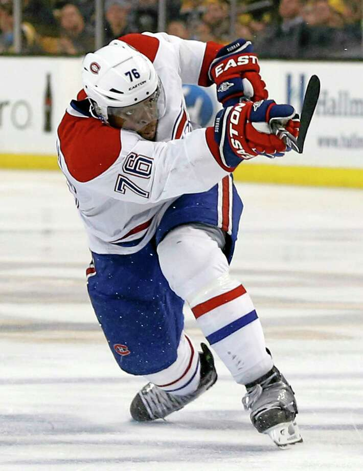 The Montreal Canadiens' P.K. Subban follows through on his game-winning goal in the second overtime period against the Bruins in Boston on Thursday. Photo: Elise Amendola — The Associated Press  / AP