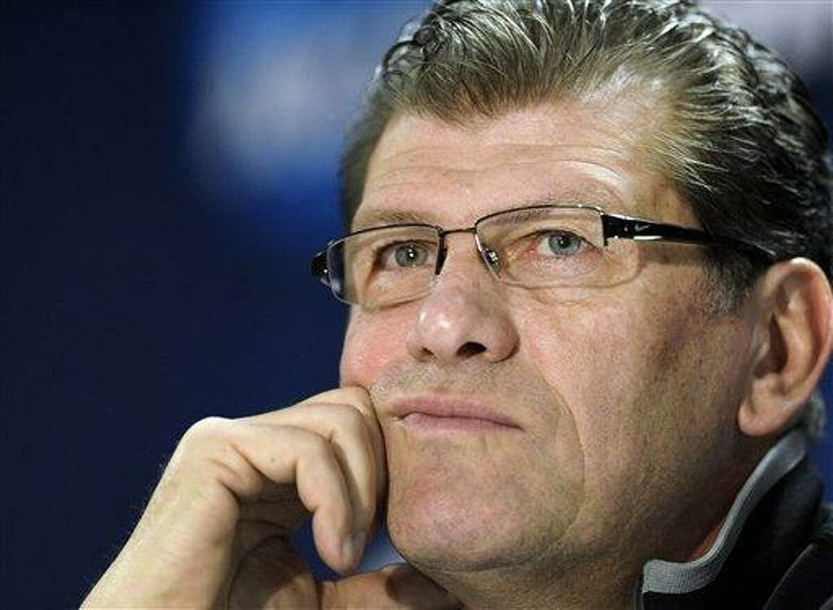 Connecticut head coach Geno Auriemma listens to a question during a news conference before practice for a second-round game in the women's NCAA college basketball tournament in in Storrs, Conn., Sunday March 24, 2013. Connecticut will play Vanderbilt on Monday. (AP Photo/Jessica Hill)