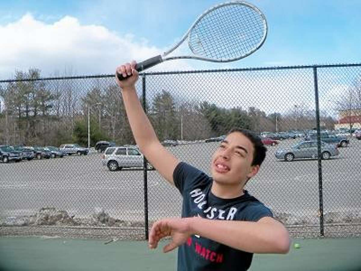 Torrington High School senior Calvin Kanlong is one of the top players for the Red Raiders' boys tennis team. Photo by Peter Wallace/Register Citizen