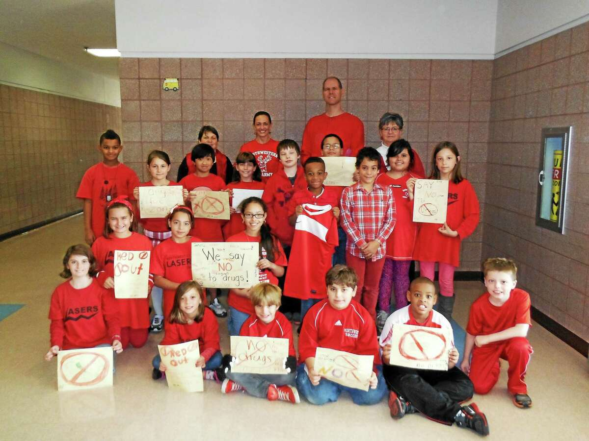 Mary Morton's Fourth Grade class at Forbes School during the 2013 Red Out Day in Torrington.