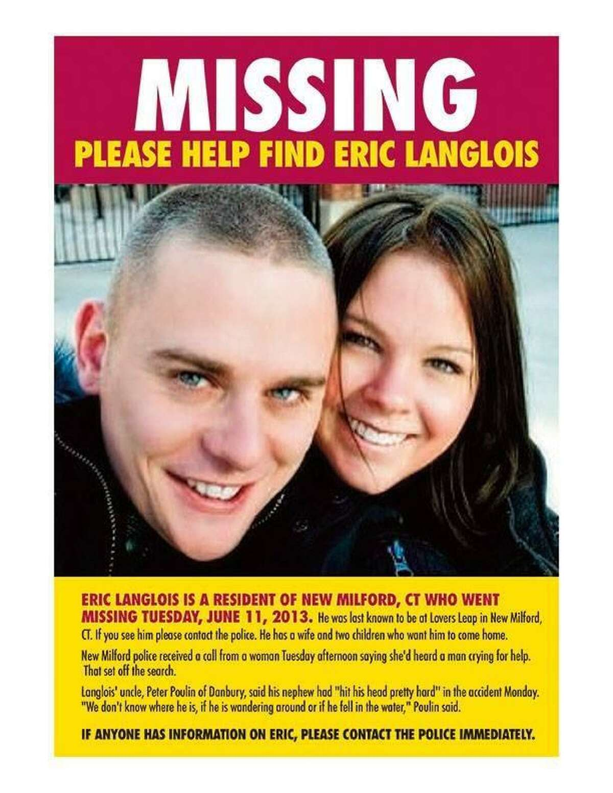 A missing person poster showing Eric Langlois, who disappeared at Lake Lillinonah, and his wife, Amber, distributed by friends on social media.