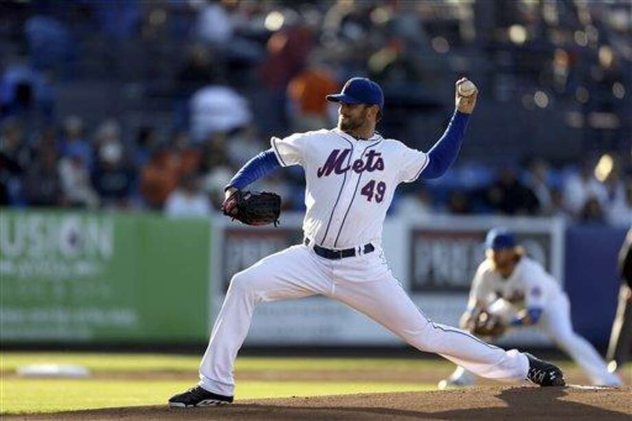 New York Mets starting pitcher Jonathon Niese throws during the first inning of an exhibition spring training baseball game against the Houston Astros Wednesday, March 27, 2013, in Port St. Lucie, Fla. (AP Photo/Jeff Roberson) Photo: ASSOCIATED PRESS / AP2013