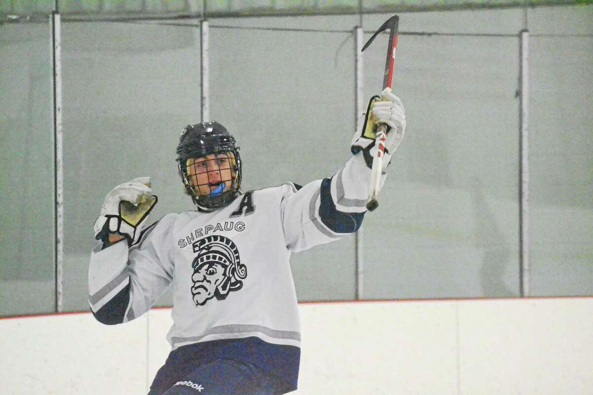 Shepaug-Litchfield-Nonnewaug's Andrew Loya celebrates a goal in the Spartans 8-3 win over Mount Everett (MA). Loya scored a hat trick in the win.