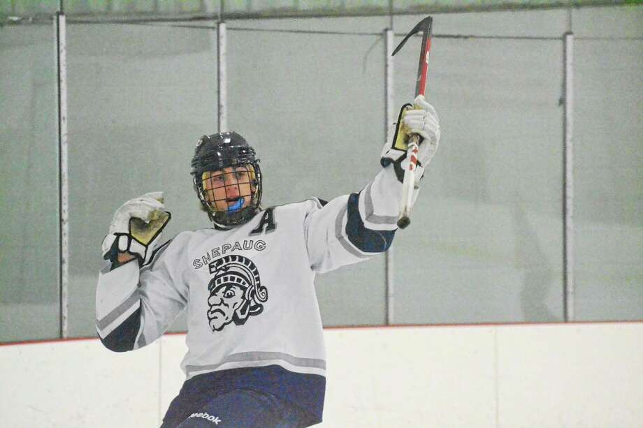Shepaug-Litchfield-Nonnewaug's Andrew Loya celebrates a goal in the Spartans 8-3 win over Mount Everett (MA). Loya scored a hat trick in the win. Photo: Pete Paguaga — Register Citizen