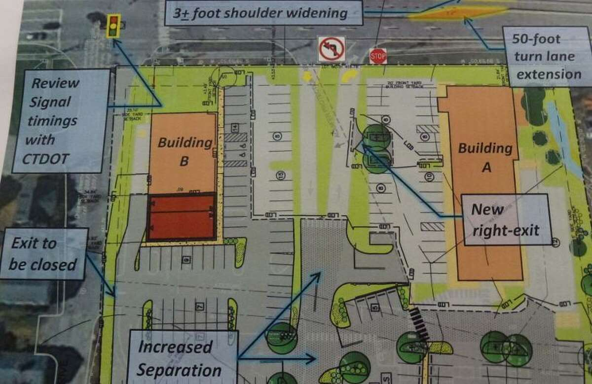 Proposed changes submitted by Stop & Shop that would address traffic issues in the Village Green Plaza. (Ryan Flynn - Register Citizen)