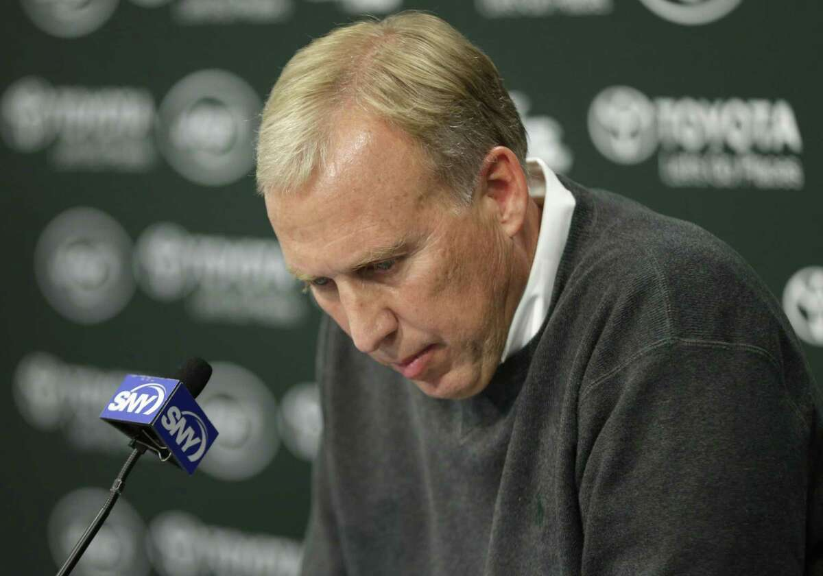 Jets general manager John Idzik speaks during a news conference on Monday.