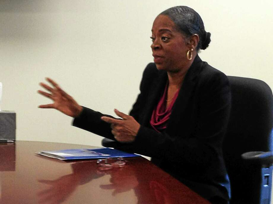 Connecticut Treasurer Denise Nappier talks to the New Haven Register editorial board. Photo: Journal Register Co.