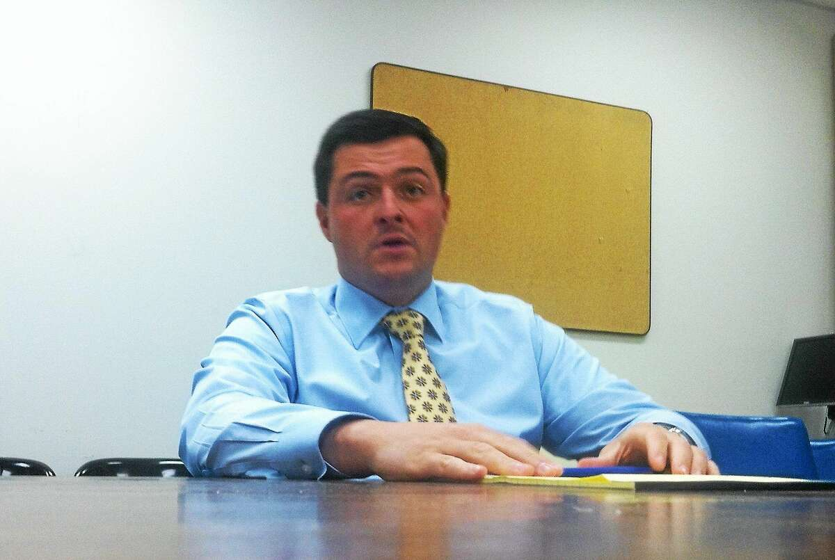 Republican state treasurer candidate Timothy Herbst, who also is first selectman of Trumbull, talks to the New Haven Register editorial board.