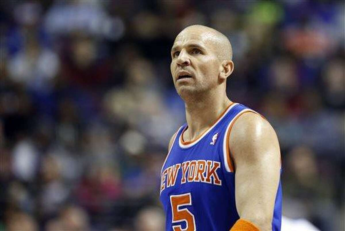 FILE - In this March 6, 2013, file photo, New York Knicks guard Jason Kidd looks on during the second half of an NBA basketball game against the Detroit Pistons in Auburn Hills, Mich. A person with knowledge of the details says the Brooklyn Nets' coaching decision is down to Jason Kidd and Brian Shaw. Kidd met with general manager Billy King on Monday and Shaw is expected to meet with the team Wednesday. (AP Photo/Duane Burleson, File)