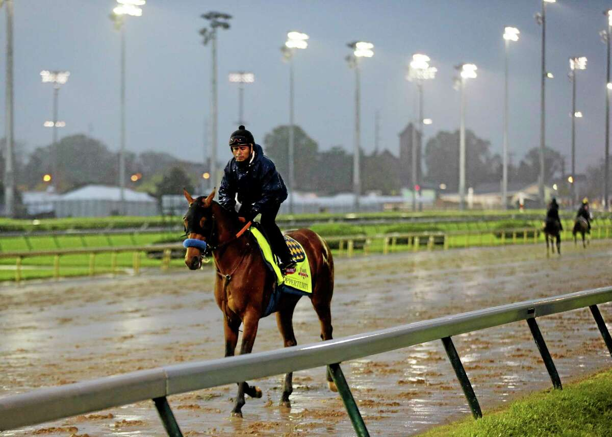 An exercise rider takes Hoppertunity for a morning workout at Churchill Downs on Monday in Louisville, Ky. The second favorite for the Kentucky Derby is now out of the race with a sore foot.