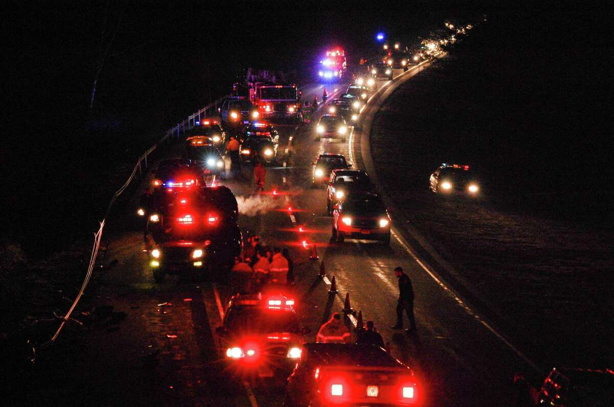 The scene of a fatal motorcycle accident that occurred just north of Exit 45 on Route 8 in Torrington around 5 p.m.