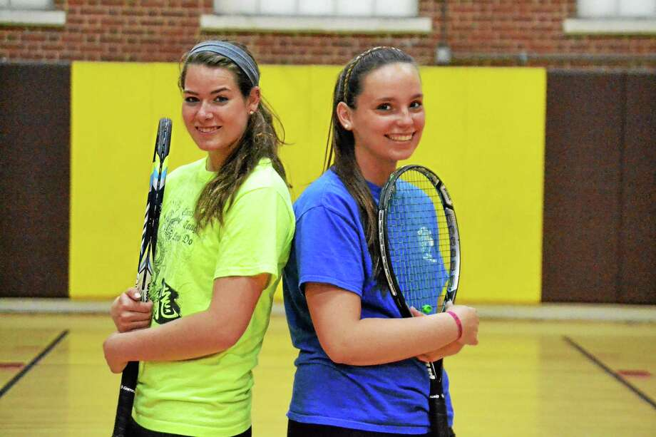 The top two singles for the Thomaston Golden Bears, Mackenzie Blair (left) and Megan Fitzgerald (right) form the best one two punch in the Berkshire League. Photo: Pete Paguaga — Register Citizen