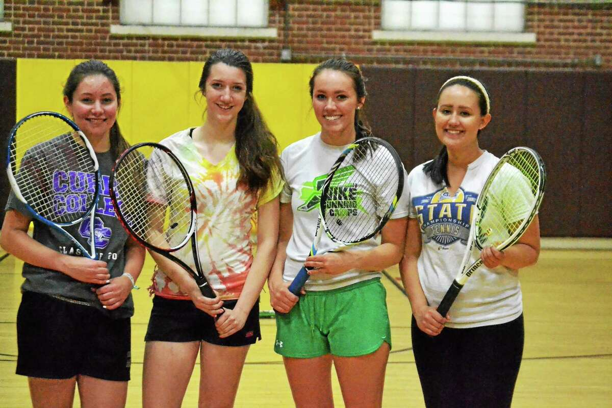 Two of the Thomaston Golden Bears doubles teams are both undefeated so far this season. Vanessa Thornberg and Allison Snow (left) are in their first season as doubles partners and Rhianon Mecca and Jessenia Gonzalez are in their second season as partners.
