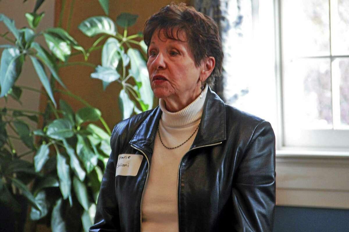 Marie Soliani speaks during a legislative candidates forum in Torrington on Oct. 21.