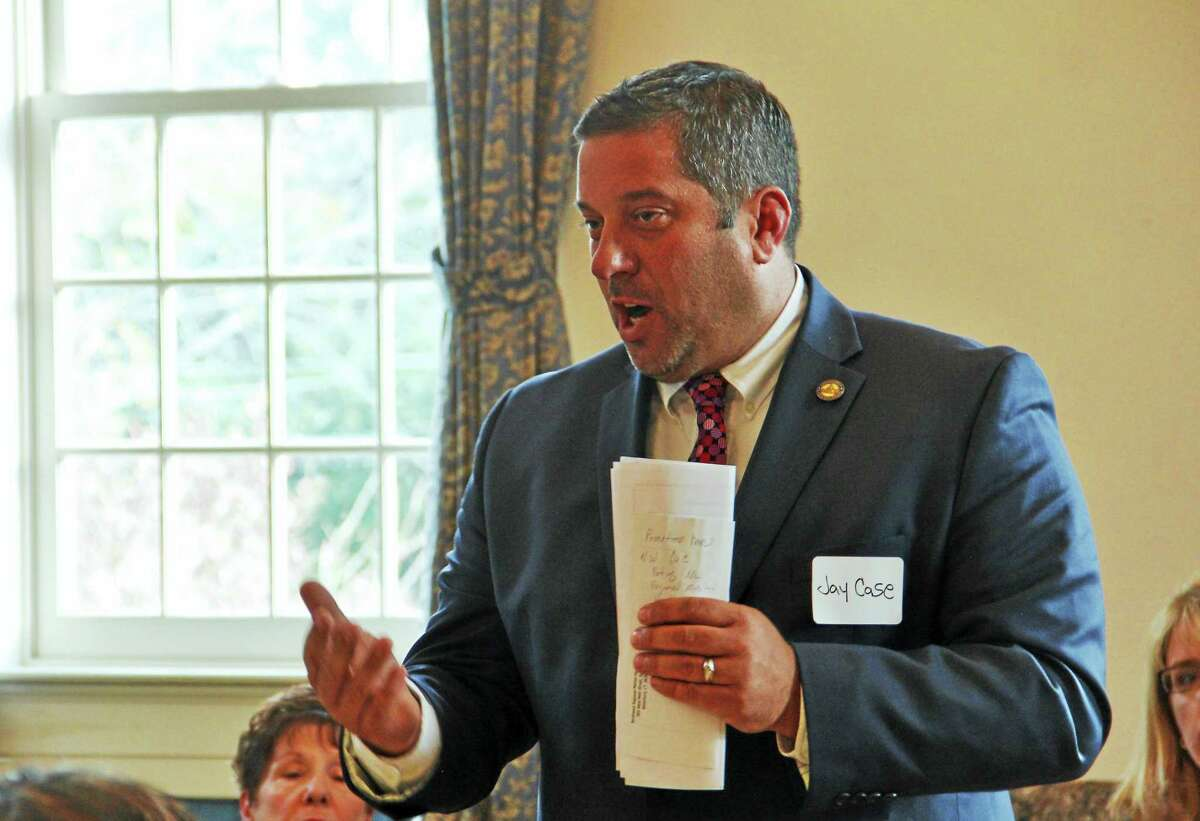State Rep. Jay Case, R-63, speaks during a legislative candidates forum in Torrington on Oct. 21.
