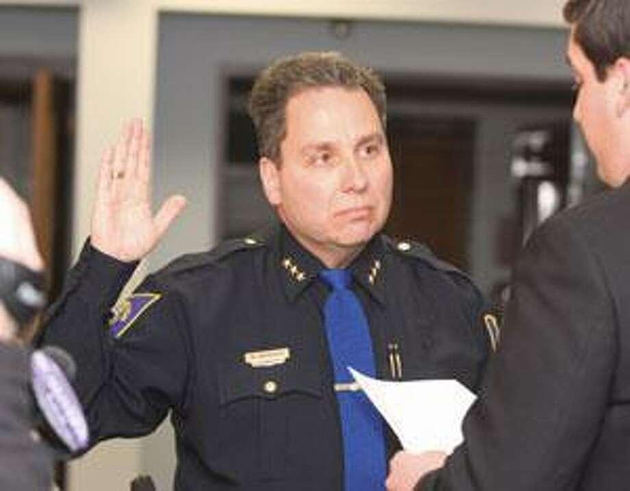 Torrington Police Chief Michael Maniago is sworn in. File photo.